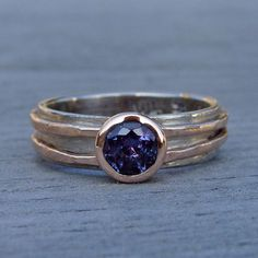 Chatham Alexandrite Engagement, Wedding, or Everyday Ring with Recycled 14k Rose Gold and Recycled 18k Palladium White Gold - Made to Order