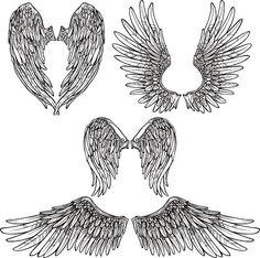 Juego de alas boceto - ilustración de arte vectorial