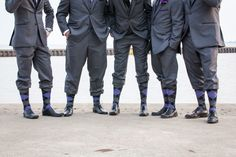 Groom, groomsmen's socks, purple and gray tartan. photo: www.eyecontact.ca