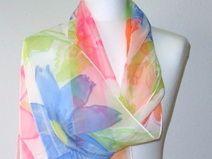 Silk painting, Hand painted silk scarf