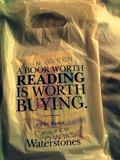 Bonus points because the book in the bag is 'Paper Towns' by John Green!