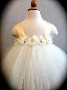Flower Girl Tutu Dress with Vintage Style Flowers by MerLovDesign, $44.00