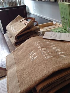 These Savannah, GA burlap bags at Prospector Co. are perfect for toting your shopping finds!