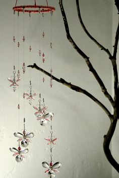 Nursery Idea Decor Pink Butterfly Mobile Swarovski Crystal Suncatcher Chandelier Hanging Mobile Baby Girl Mobile Crystal Garland Fairy Gift - pinned by pin4etsy.com