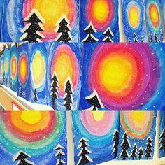 Von @froschklasse inspiriert, hat meine Klasse ebenfalls diese tollen Winterbilder gestaltet! #kunstindergrundschule #winterwald #grundschule #lehrerleben