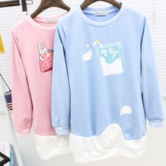 """Style:sweet japanese Fabric material:cotton blend Color:pink(strawberry).light blue(milk)  Size:one size Bust:98cm/38.58"""" Length:80cm/31.49"""" Shoulder:40cm/15.74"""" Sleeve length:60cm/23.62""""  Tips: *Please double check above size and consider your measurements before ordering,thank you ^_..."""