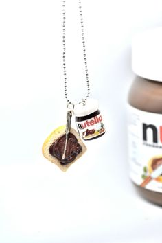 Nutella necklace,Nutella breakfast necklace,Polymer clay jewelry,Miniature food jewelry by on Etsy Nutella Jar, Nutella Spread, Nutella Breakfast, Piece Of Bread, Clay Food, Clay Charms, Miniature Food, Ball Chain, Polymer Clay Jewelry