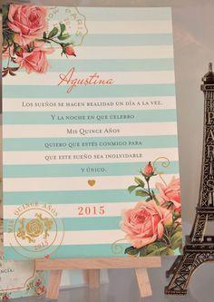 """Agustina ama el estilo """"Vintage"""" con colores claros, luminosos y flores como objeto principal en el diseño. El resultado fue una tarjeta color avorio claro con sutiles líneas horizontales en degrad..."""