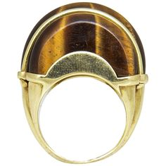 1970's Tiger's Eye and Gold Ring | From a unique collection of vintage dome rings at https://www.1stdibs.com/jewelry/rings/dome-rings/