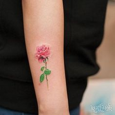 Small Rose Tattoo on Arm by Graffittoo - would like something like this with a hummingbird