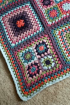 Granny square afghan**inspiration with pictures only** originally from attic 24**