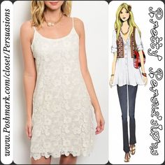 "NWT Creamy White Floral Lace Crochet Dress Available in sizes: S, M, L Measurements taken in inches from a size small:  Length: 35"" Bust: 36"" Waist: 30""  Features:  • full floral crochet lace bodice  • scooped neckline • lined • has stretch • pull on design (no pesky zippers or buttons) • adjustable spaghetti straps   65% Cotton/35% Nylon   Bundle discounts available  No pp or trades Pretty Persuasions Dresses Mini"