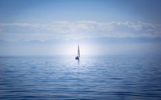 Download wallpapers Lake Constance, yacht, sailboat, Bodensee, Germany, loneliness concepts, solitude