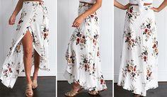 23d8f480d25826 Simplee vintage bloemenprint lange rokken vrouwen zomer elegante strand  maxi rok boho hoge taille asymmetrische rok