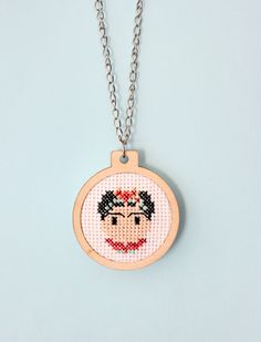 Necklace pendant embroidery frida kahlo cross stitch