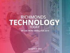 Hiring job recruiting employer red blue fade advertisement for technology.