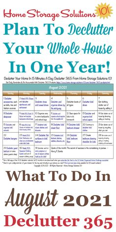 Free printable August 2021 #decluttering calendar with daily 15 minute missions. Follow the entire #Declutter365 plan provided by Home Storage Solutions 101 to #declutter your whole house in a year. Deep Cleaning Tips, House Cleaning Tips, Spring Cleaning, Cleaning Hacks, Cleaning Checklist, Cleaning Recipes, All You Need Is, That Way, Dollar Store Hacks