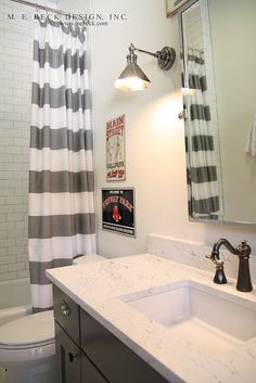 boys bathroom ideas - or just redoing a bathroom, new counter top paint the cabinets, awesome shower curtain....