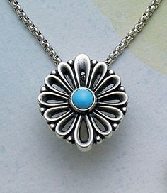 De Flores Pendant with Turquoise, shown on a sterling silver chain #jamesavery #jewelry