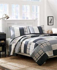 Nautica Longview Cotton Reversible Quilt and Sham Separates - Overstock Shopping - Great Deals on Nautica Quilts Flannel Quilts, Boy Quilts, Cotton Quilts, Boys Quilt Patterns, Twin Quilt, Queen Quilt, Home Bedroom, Master Bedroom, Bedrooms