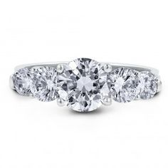 Sterling Silver Cubic Zirconia CZ 5 Stone Ring 3.09 ct.tw