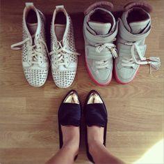 Christian Louboutin Sneakers, Kanye x Louis Vuitton Sneakers, and Rachel Roy Cap Toe Flats