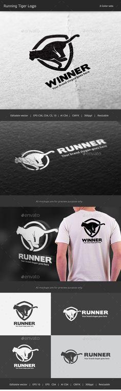 Tiger Run Logo — Vector EPS #run #emblem • Available here → https://graphicriver.net/item/tiger-run-logo/17435860?ref=pxcr