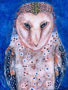 Contemplative Barn Owl Acrylic on Canvas Whimsical Animal Portrait Painting 8x10 www.berggrenfibers.com