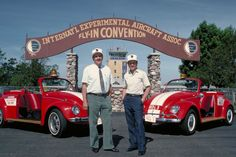 Paul and Tom Poberezny and their Beetles at the original brown arch.