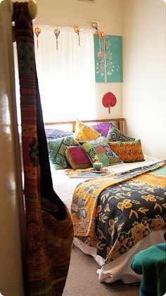 Boho bedroom with kantha quilt