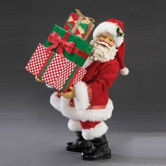 Santa with Stack of Christmas Gifts