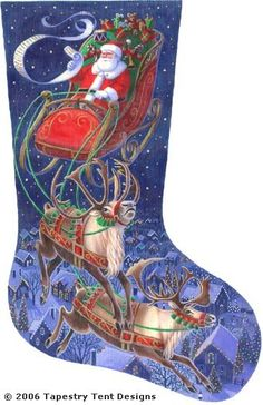 click here to view larger image of Santa Flying Through The Stars Stocking (hand painted canvases)
