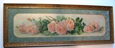 c1903 Yard Long La France Roses Print Paul de Longpre Original Frame Glass Buy now at Victorian Rose Prints on rubylane.com