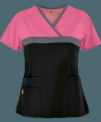 WonderWink Scrubs ORIGINS Tri-Charlie Mock Wrap Top - Peony/Pewter/Black Spa Uniform, Scrubs Uniform, Vet Scrubs, Medical Scrubs, Scrubs Pattern, Stylish Scrubs, Scrubs Outfit, Medical Uniforms, Scrub Tops