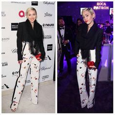 """Miley Cyrus attended the 23rd Annual Elton John AIDS Foundation's Oscar Viewing Party and Vanity Fair's Oscar Party. #mileycyrus #smilers #vanityfair…"""