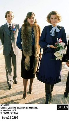 Princess Caroline, Prince Albert, with their mother, Princess Grace of Monaco  November 1975   /////  the Fashion Spot - Grace Kelly #1