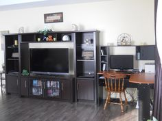 Living Room- Entertainment stand and computer desk