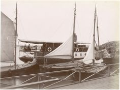 Boats, Lysekil, Sweden  Moored boat and sailboats in Lysekil Harbour. 1880s
