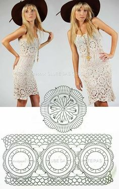 confidenziale: Vestidos e Saias em Crochê crochet dress with round motifs