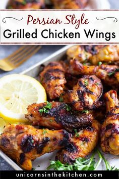 Delicious grilled chicken wings made Persian style! This recipe uses a yogurt marinade that makes the wings so tender on the inside. These golden crispy wings are perfect for summer grilling and you can make them on gas or charcoal grill! Vegan Recipes Easy, Easy Dinner Recipes, Appetizer Recipes, Breakfast Recipes, Appetizers, New Chicken Recipes, Turkey Recipes, Beef Recipes, Grilling Recipes