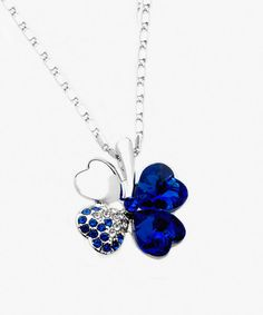 Look at this Royal Swarovski® Crystal Four-Heart Clover Pendant Necklace on #zulily today!