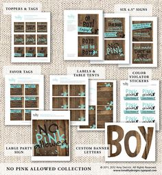 Baby Boy Baby Shower: No Pink Allowed Party Accessories (DIY Printables). Lots of cute wording for evite Baby Shower Parties, Baby Shower Themes, Baby Boy Shower, Shower Ideas, Shower Set, Baby Showers, Welcome Baby Party, Birthday Survival Kit, Diy Baby Costumes
