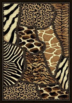DonnieAnn Company Skinz 70 Mixed Animal Skin Prints Patchwork Design Rug - - Animal Print Rugs - Area Rugs by Style - Area Rugs Leopard Home Decor, Animal Print Decor, Animal Rug, Animal Prints, Coaster Design, Patchwork Designs, Safari Animals, African Art, African Safari