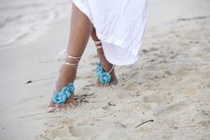 Turquoise Spring flowers beach wedding barefoot sandals by FULYAK