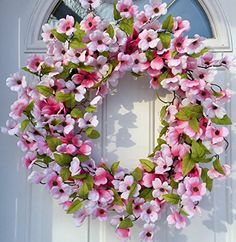 Wreath Indoor and Outdoor Wreath Front Door Decoration Pink Dogwood Spring Door Wreaths, Summer Wreath, Front Door Decor, Wreaths For Front Door, Flower Petals, Silk Flowers, Pink Dogwood, Outdoor Wreaths, Indoor Outdoor