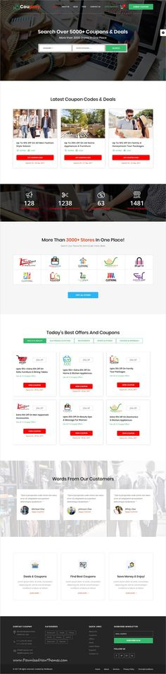 Coupmy is clean and modern design 2in1 responsive bootstrap #HTML template for #coupon, #affiliate, #offers, deals and #discounts marketplace eCommerce website to live preview & download click on image or Visit  #webdesign