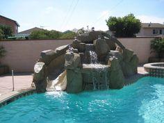 rock slide for inground pool - Google Search
