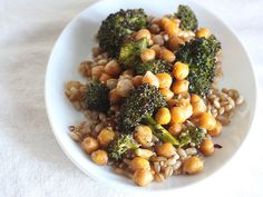 Oven-Roasted Chickpeas and Broccoli with Barley: I make this a couple of times a month to have for lunch the following week.  I cut the salt back to two teaspoons and add more broccoli. It's also best if you let the broccoli and chickpeas sit to dry before roasting.