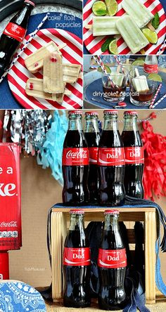Coke Float Popsicles two ways:  Traditional Coke Float popsicle with Coke, vanilla ice cream and a cherry.  Dirty Coke Poptails, coconut and lime popsicle served in a glass with ice cold coke . #ShareaCoke at TidyMom.net #ShareaCokeSweepstakes #spon