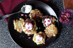 cauliflower fritters with feta, yogurt, pomegranate